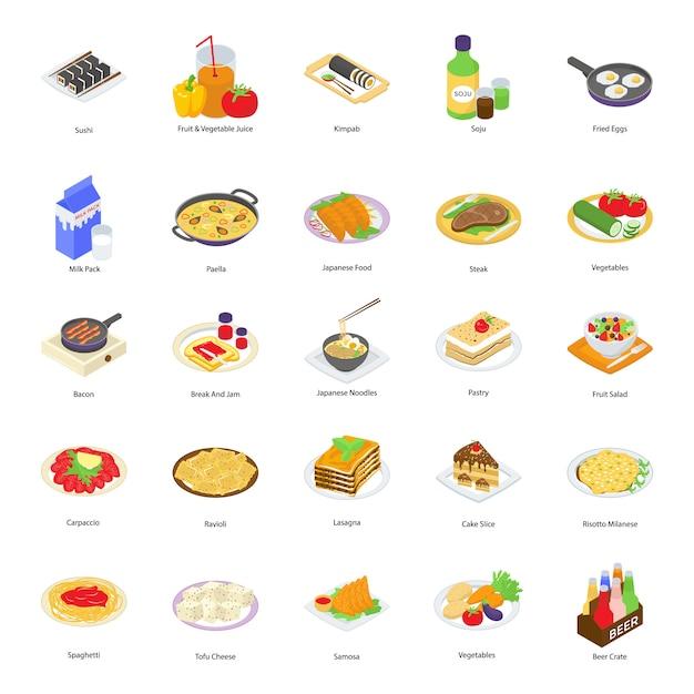 Ícones de comida de padaria Vetor Premium