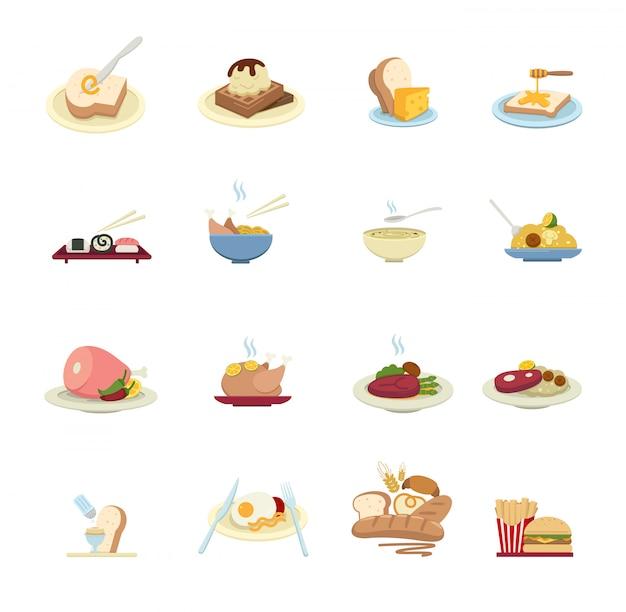 Ícones de comida isolados no fundo branco Vetor Premium