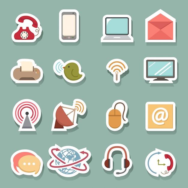Ícones de comunicação Vetor Premium