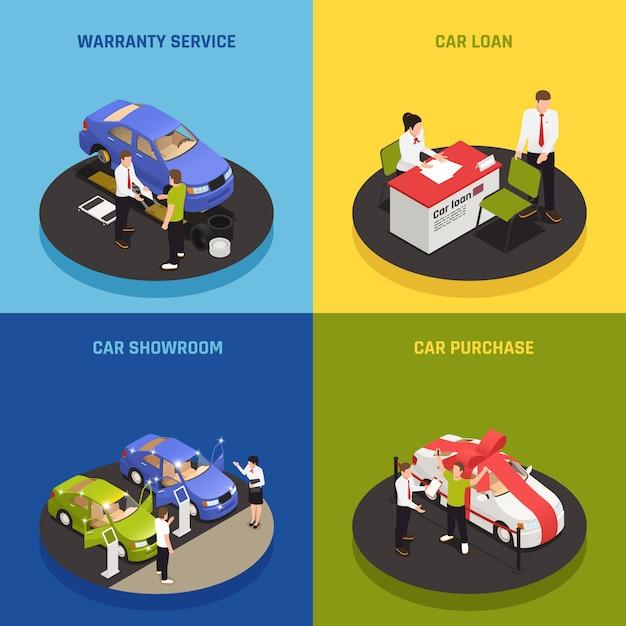 Ícones de conceito de concessionária de carro conjunto com símbolos de empréstimo de carro isométrico isolado Vetor grátis