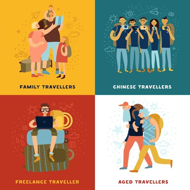 Ícones de conceito de dicas de viagem definidos com símbolos de viagens em família isolados no plano Vetor grátis