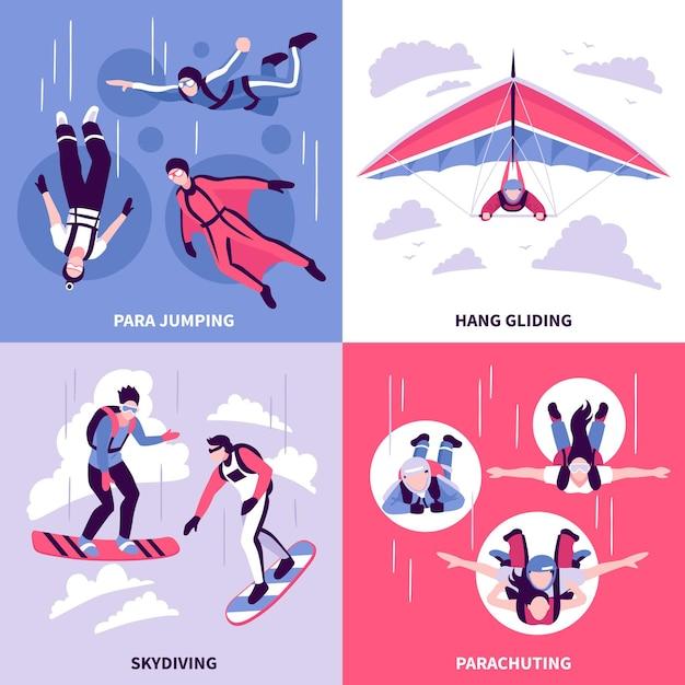 Ícones de conceito de paraquedismo com símbolos de asa delta isolada ilustração vetorial plana Vetor grátis