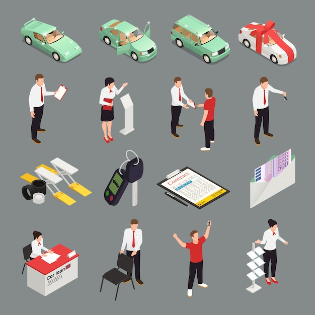Ícones de concessionária de carro conjunto com símbolos de venda de carro isométricos isolados Vetor grátis
