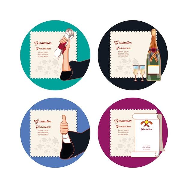 Ícones de conjunto de cartão de formatura de celebração Vetor Premium
