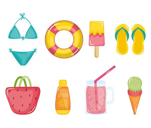 Ícones de conjunto de cartaz de férias de verão Vetor Premium
