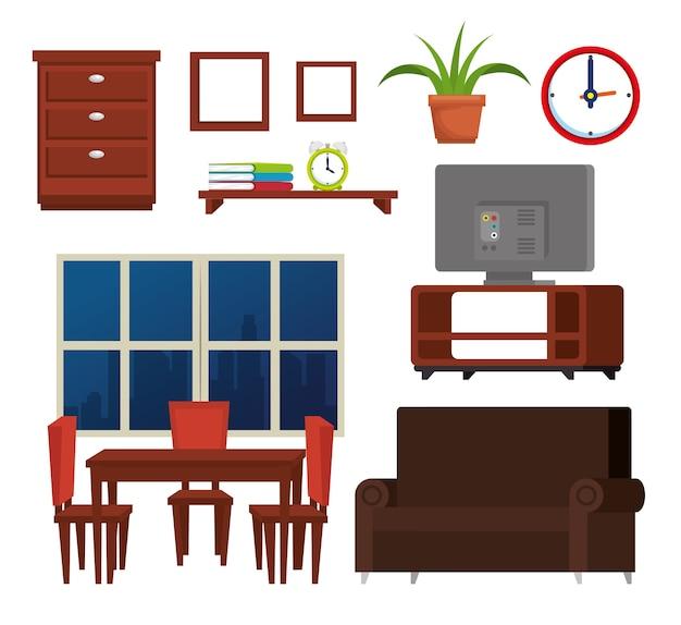 Ícones de conjunto de lugar de casa Vetor Premium