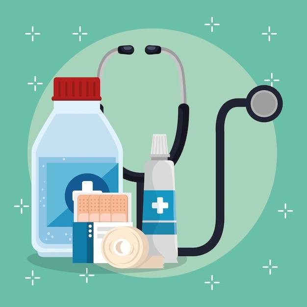Ícones de conjunto de serviço médico Vetor grátis