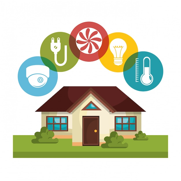 Ícones de conjunto de tecnologia de casa inteligente Vetor grátis
