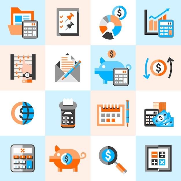 Ícones de contabilidade configurados Vetor grátis