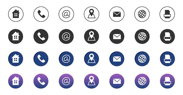 Ícones de contato. coleção de símbolos de comunicação empresarial de informação. ligue para ícones de localização, endereço, correio e fax na internet. ícones de telefone, endereço de internet, ilustração de contato de e-mail Vetor Premium
