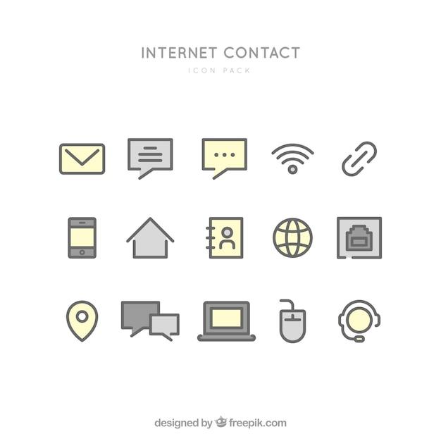 Ícones de contato internet Vetor grátis