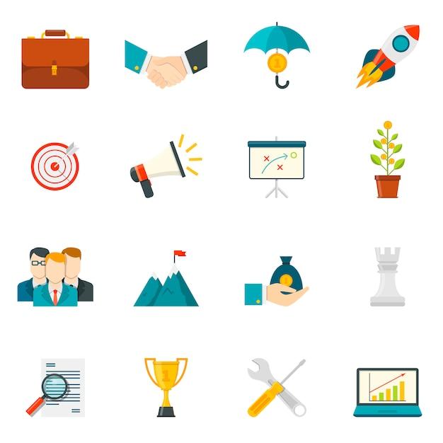 Ícones de cor plana de empreendedorismo Vetor grátis