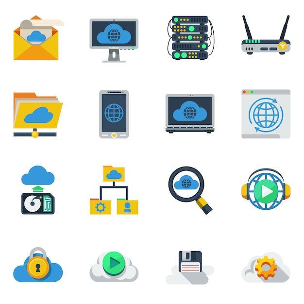 Ícones de cores planas de serviço de nuvem Vetor grátis