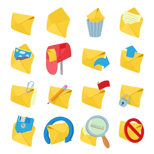 Ícones de correio definido no vetor de estilo dos desenhos animados Vetor Premium