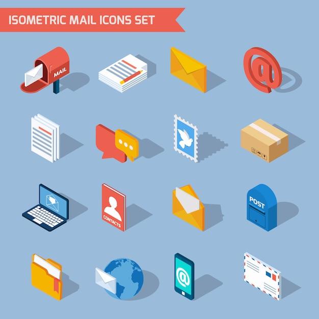 Ícones de correio isométrico Vetor grátis