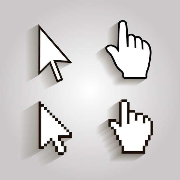 Ícones de cursores de pixel mouse seta de mão. Vetor Premium