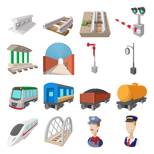 Ícones de desenhos animados de ferrovia conjunto isolados Vetor Premium