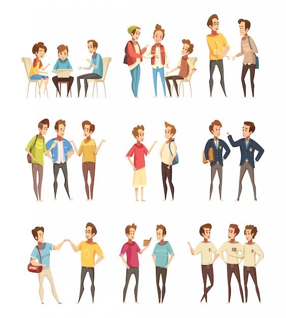 Ícones de desenhos animados de grupos de meninos adolescentes Vetor grátis