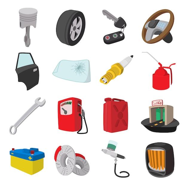 Ícones de desenhos animados de manutenção de serviço de carro conjunto isolados Vetor Premium