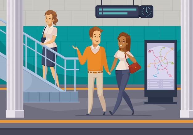 Ícones de desenhos animados de passageiros de metrô subterrâneo Vetor grátis