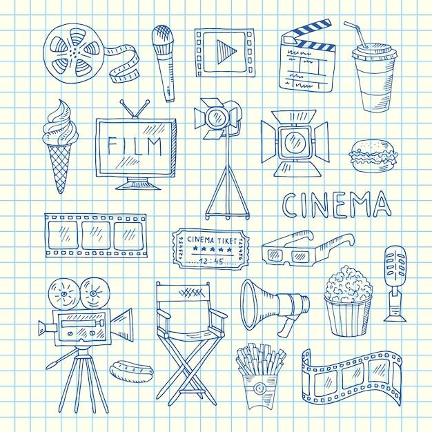 Ícones de doodle de cinema Vetor Premium