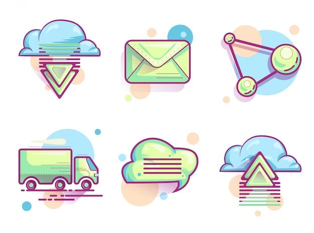 Ícones de e-mail na nuvem, pictogramas de cores modernas Vetor grátis
