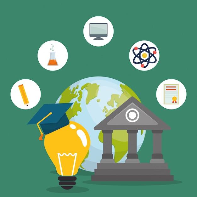 Ícones de educação e elearning Vetor Premium
