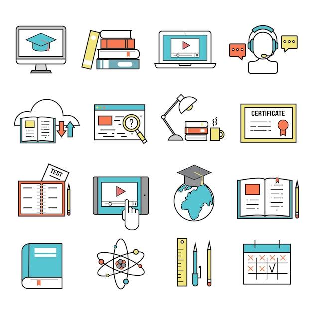 Ícones de educação on-line Vetor Premium