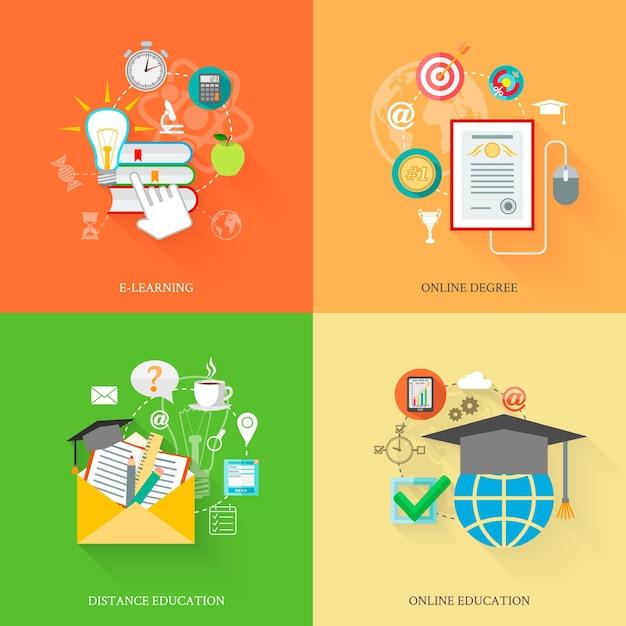 Ícones de educação online Vetor grátis