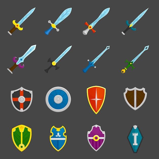 Ícones de emblemas de espadas de escudo configurados Vetor grátis