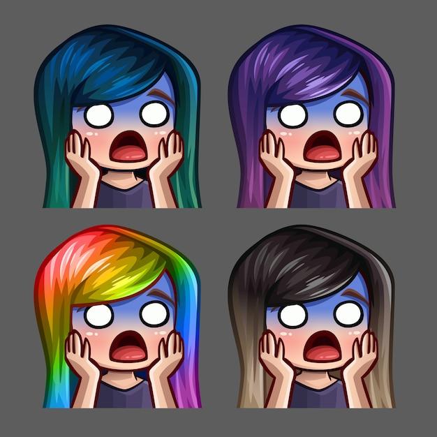 Ícones de emoção assustaram a fêmea com cabelos compridos para redes sociais e adesivos Vetor Premium
