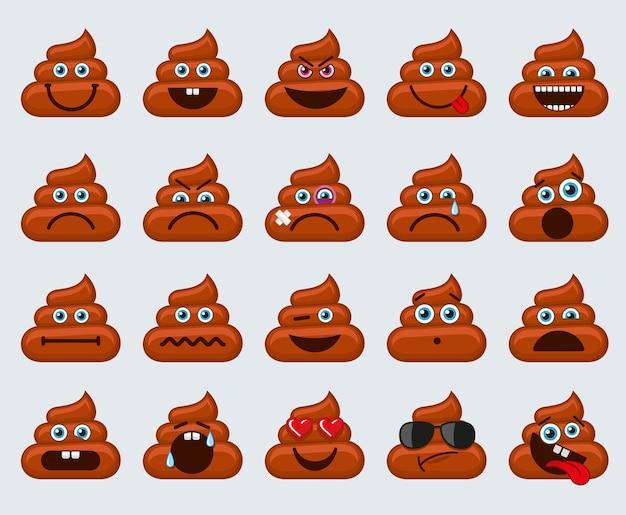 Ícones de emoticons de emoticons de cocô Vetor Premium