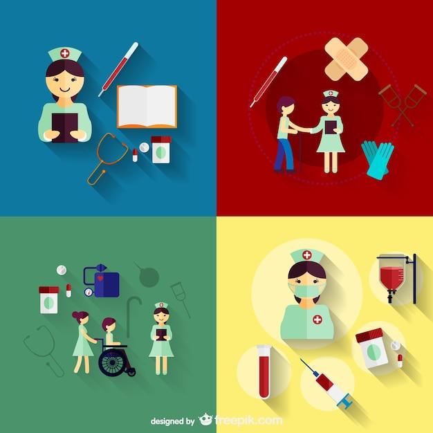 Icones De Enfermagem Vetor Gratis