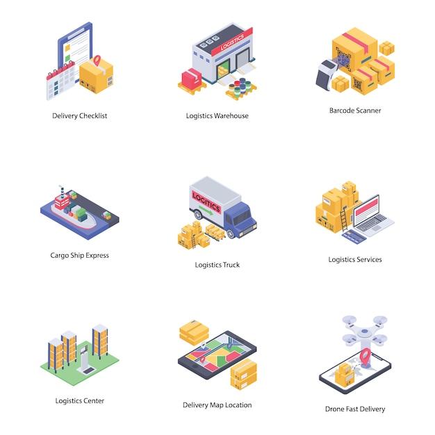 Ícones de entrega logística Vetor Premium