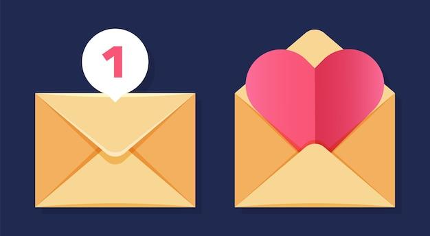 Ícones de envelope Vetor Premium