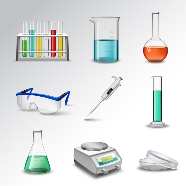 Ícones de equipamento de laboratório Vetor grátis