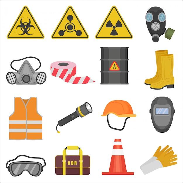 Ícones de equipamentos de segurança de trabalho industrial Vetor Premium