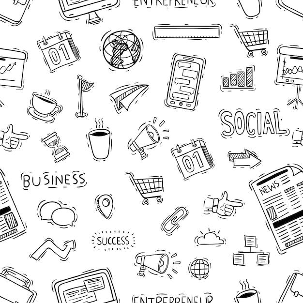 Ícones de escritório ou negócios no padrão sem emenda com estilo doodle Vetor Premium