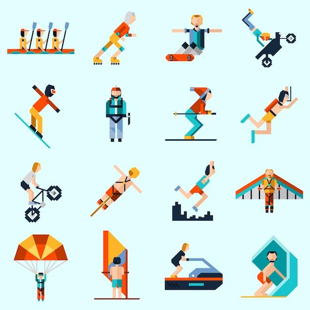 Ícones de esportes extremos Vetor grátis