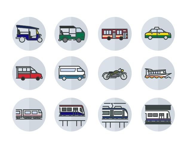 Ícones de estilo design plano linear de transportes públicos de banguecoque. Vetor Premium
