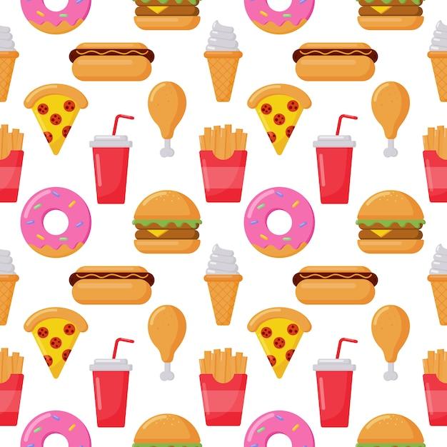Ícones de estilo kawaii engraçado engraçado bonito fast-food kawaii isolados no branco Vetor Premium