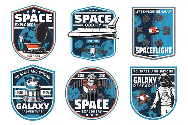 Ícones de exploração espacial, nave espacial e astronauta Vetor Premium