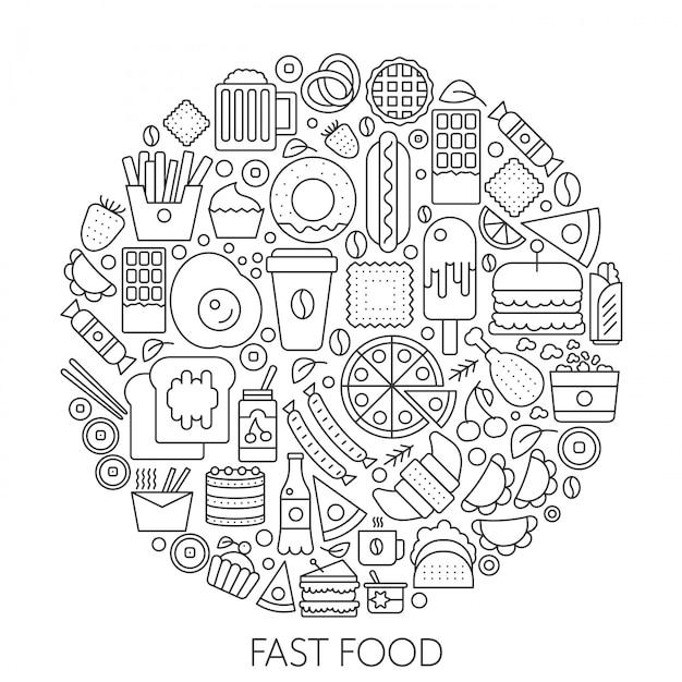 Ícones de fast food em círculo Vetor Premium
