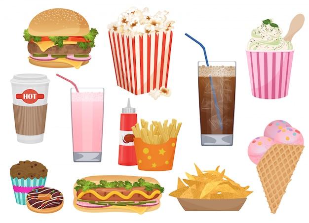 Ícones de fast food para o menu Vetor Premium
