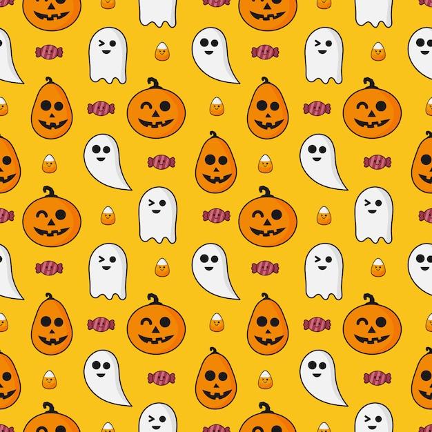 Ícones de feliz dia das bruxas padrão sem emenda isolados na laranja Vetor Premium