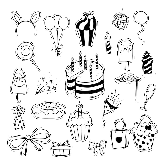 Ícones de festa de aniversário preto e branco com bolinho Vetor Premium