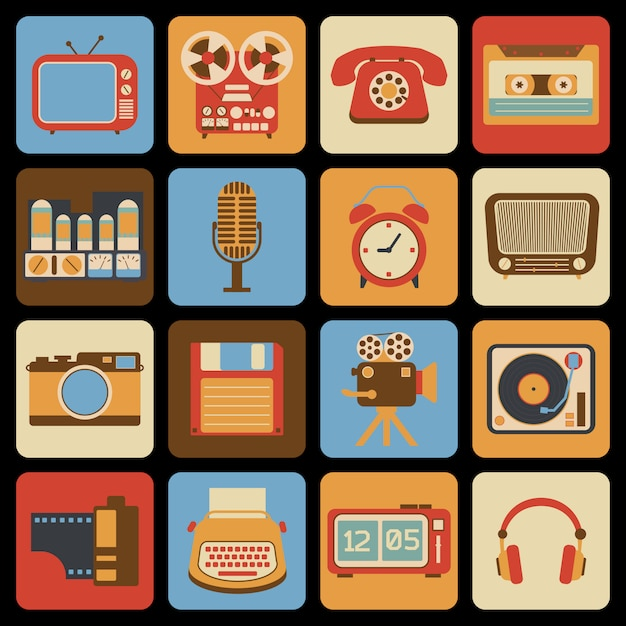 Ícones de gadget vintage Vetor Premium
