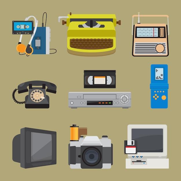 Ícones de gadgets retrô Vetor Premium