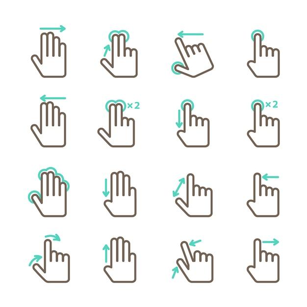 Ícones de gestos de mão de tela de toque definido para ilustração em vetor design aplicativo móvel isolado Vetor Premium