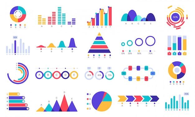Ícones de gráficos gráficos. gráfico de estatística de finanças, receita de dinheiro e gráfico de crescimento de lucro. conjunto de gráficos de apresentação de negócios plana Vetor Premium